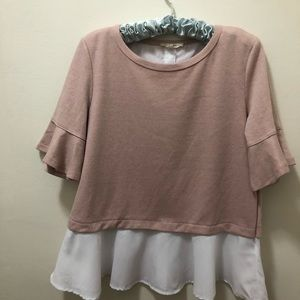 Jane & Delancey sweater with ruffled hem. Size M